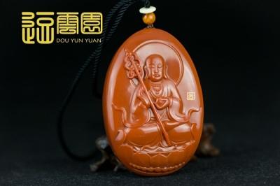 苏工南红地藏王九口柿子红雕件