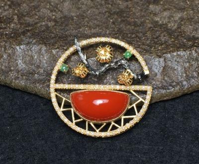 金玉良缘 南红的镶嵌春满园
